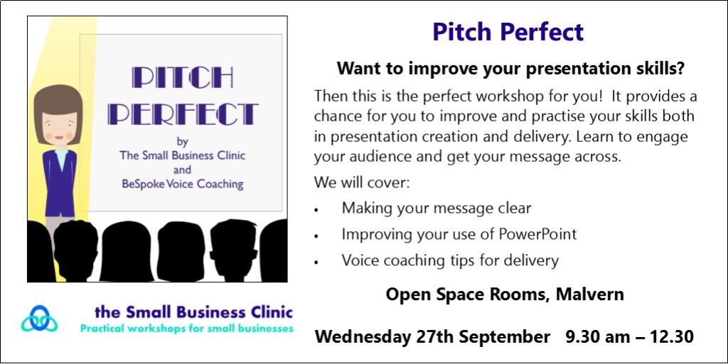 Advert for Pitch Perfect workshop 27th Sept